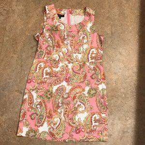 Jones New York pink paisley sleeveless dress sz 16